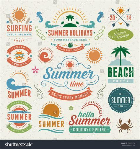 vintage classic design label elements summer design elements typography design retro stock