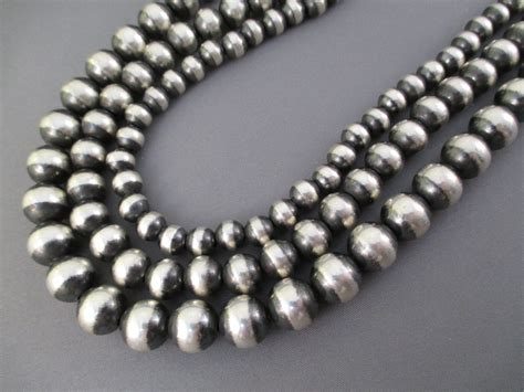 oxidized sterling silver bead necklace 3 strands
