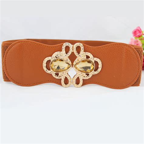 wide leather belts elastic stretch dress rhinestone belt