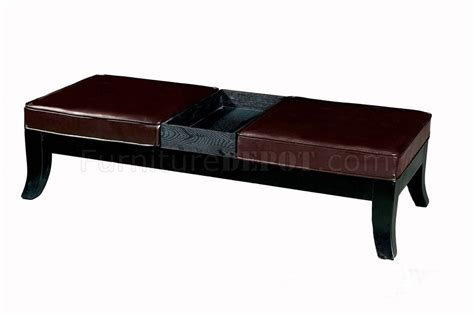 Leather Ottoman Seat Brown Color Leather Ottoman Bench With Two Seats