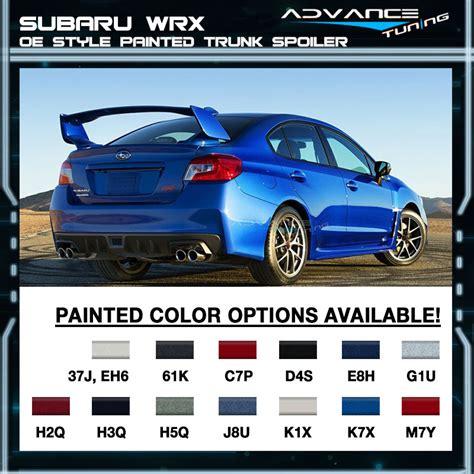 subaru silver paint code fits 15 17 subaru wrx sti oe painted trunk spoiler all oem