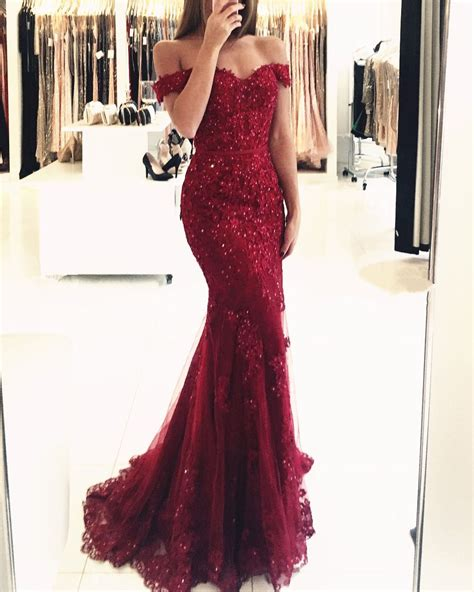 Lace Mermaid Evening Gown burgundy prom dresses mermaid evening dress lace evening