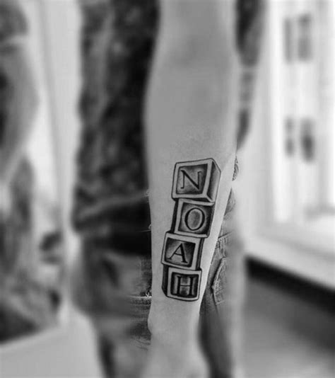 tattoo ideas name noah 50 kids name tattoos for men cool children design ideas
