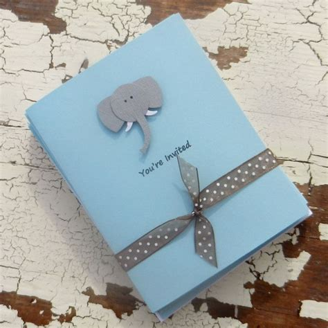 Handmade Invitations For Baby Shower - handmade baby shower invitations blue elephant 10 pack