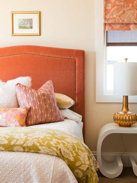 orange bedroom decor orange velvet headboard contemporary bedroom alice