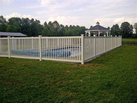 backyard vinyl fence vinyl cayuga yard fence installed around an inground pool