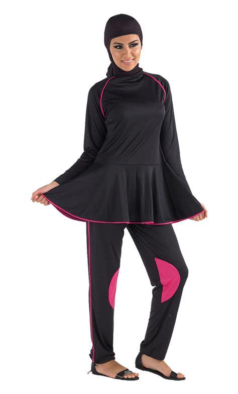 Sale Dress Muslim Satu Set black with bright pink accent burqini set sale