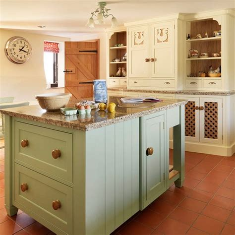 Green And Cream Kitchen | island unit soft green and cream traditional kitchen