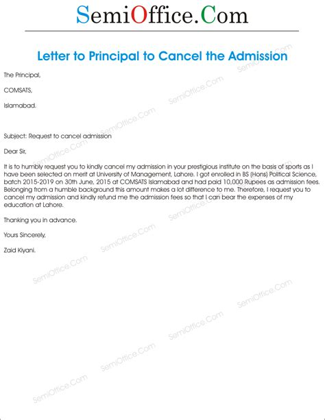 letter cancelling recurring deposit application for cancellation of admission
