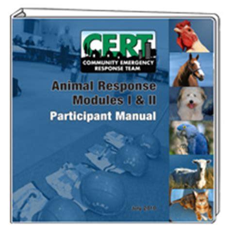 cert basic participant manual books cert animal response modules i ii participant manual