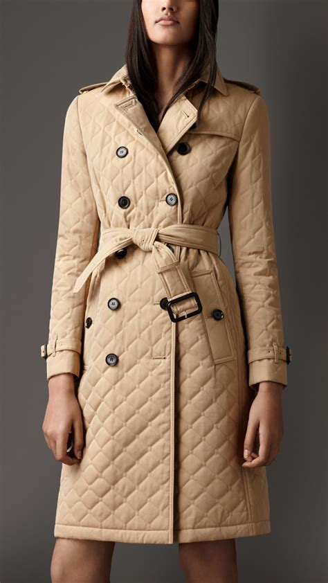 burberry quilted gabardine trench coat in lyst