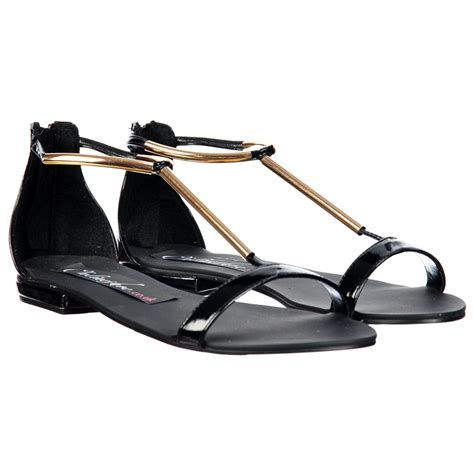 Sandal Crome onlineshoe t bar gladiator flat sandal gold chrome bar black patent onlineshoe from