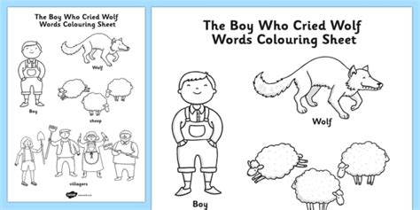 The Boy Who Cried Wolf Words Colouring Sheet Colour In Boy Who Cried Wolf Coloring Page Printable