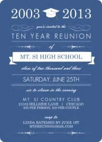 blue banner class reunion invitation 10 year class