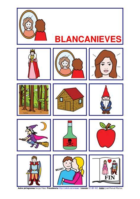 Como Hacer Un Cuento Con Hojas Blanca | tablero de comunicaci 243 n sobre blancanieves en formato pdf