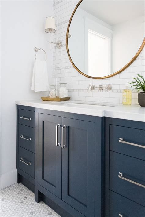 blue bathroom vanity cabinet windsong tour basement pt 1 navy cabinets studio