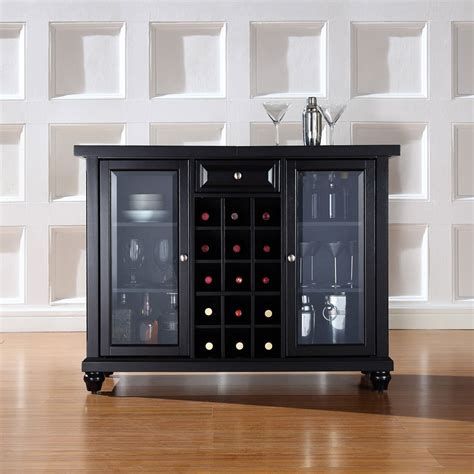 crosley cambridge sliding top bar cabinet cambridge sliding top bar cabinet in black finish crosley