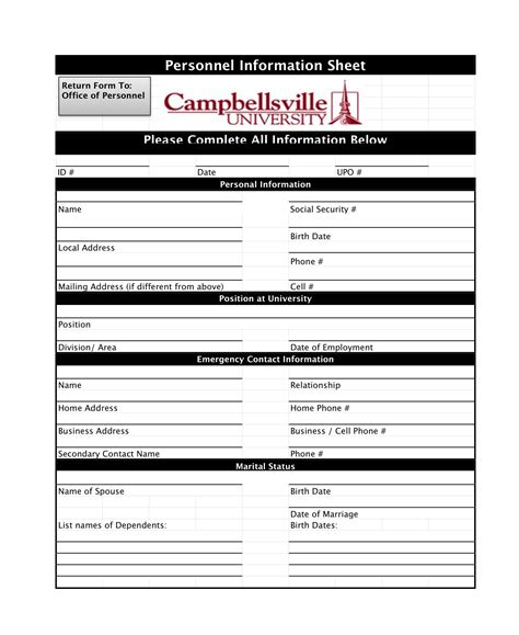 Personal Employment Background Check Forms Cbellsville Hr