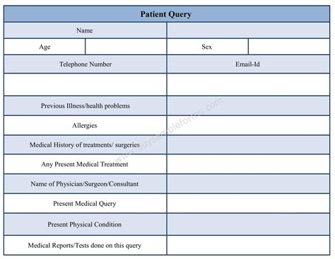 query templates for ppt patient query form template in word format