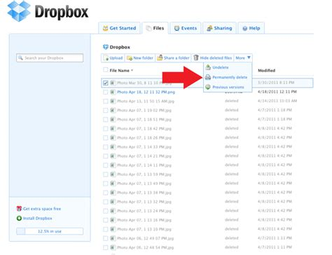 dropbox deleted files how to permanently delete files from dropbox business