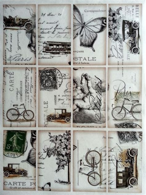 rice decoupage paper vintage labels craft decoupage