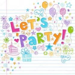 Disenador 3d Online party happy birthday doodles vector illustration stock
