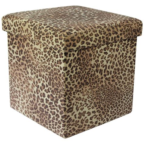 Animal Print Storage Ottoman Animal Print Folding Storage Pouffe Stool Seat Ottoman Box With Lid