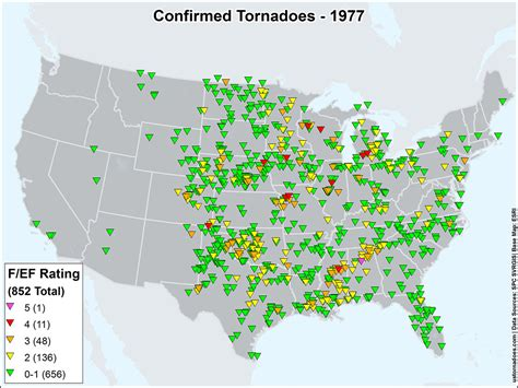 map of tornadoes today us tornadoes map1977 u s tornadoes