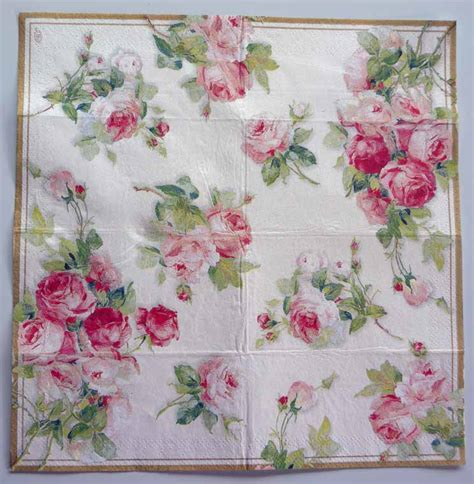 Decoupage Napkins - decoupage paper napkin roses on white