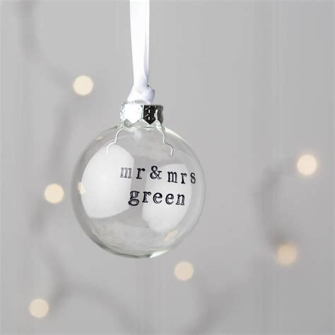 personalised mr and mrs glass christmas bauble by twenty