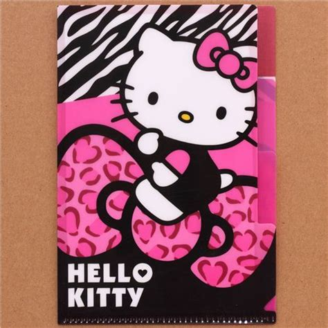 hello kitty bow leopard print mini plastic folder 3 pocket