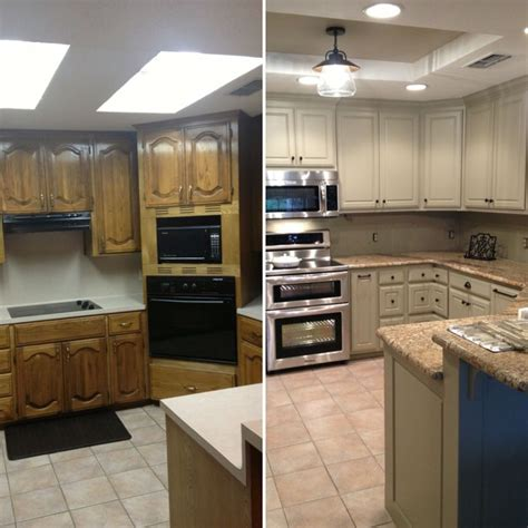Before And After For Updating Drop Ceiling Kitchen Kitchen Drop Lights