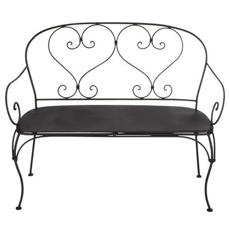 black wrought iron bench seat 2 seater wrought iron bench seat in black saint germain