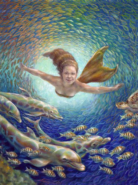 mermaid painting fantastic journey ii mermaid painting by nancy tilles
