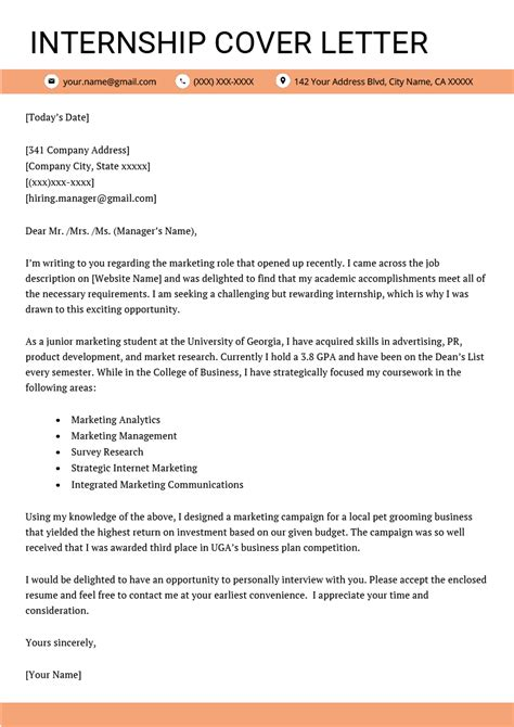 format of a cover letter for an internship internship cover letter exle resume genius