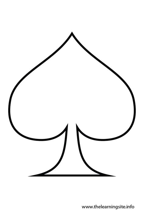 Spade Card Template by Simple Outline Cliparts Co