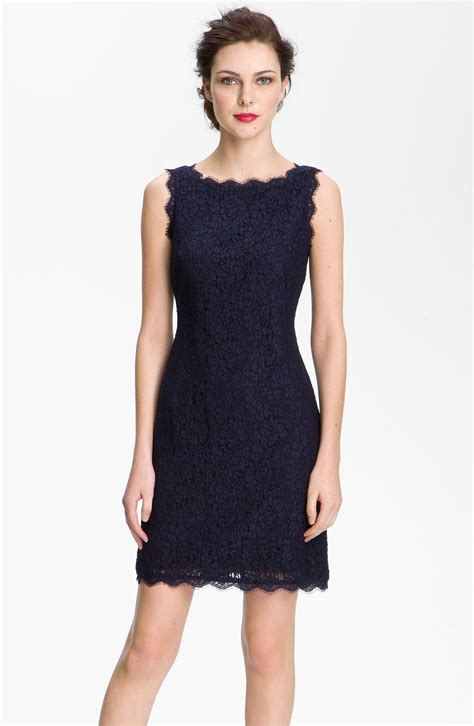 dress navy papell boatneck lace sheath dress in blue navy