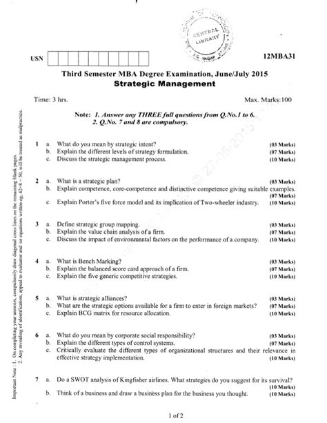 Strategic Management Notes For Mba 4th Sem by 3rd Semester Mba June 2015 Question Papers