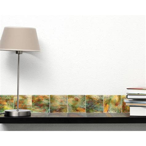 adhesive decorative wall tile artscape jazz 4 in l x 4 in h high gloss zing self