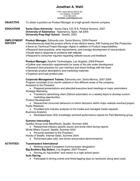 product manager resume product manager resume sle and resume template