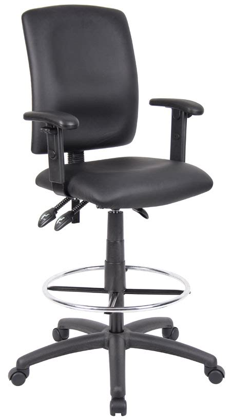 Leatherplus Drafting Stool Black Chrome by B1646 Stools