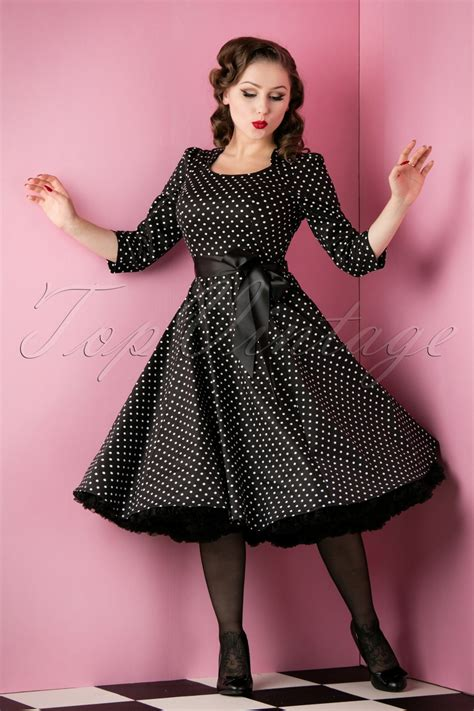 50 s swing dress 50s sofie polkadot swing dress in black and white