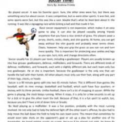 Sixth grade reading comprehension worksheet soccer time