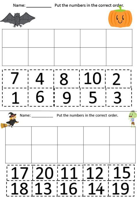 printable ordering numbers game cut and paste missing number worksheets numbers missing