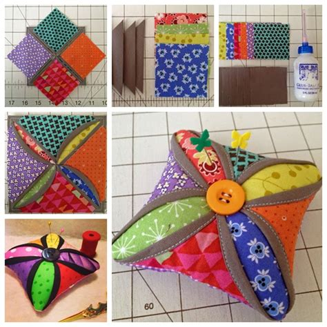 Cathedral Window Patchwork Pincushion - wonderful diy cathedral window pincushion