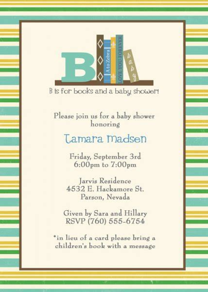 What Should I Bring To A Baby Shower by Book Baby Shower Invitations Marialonghi