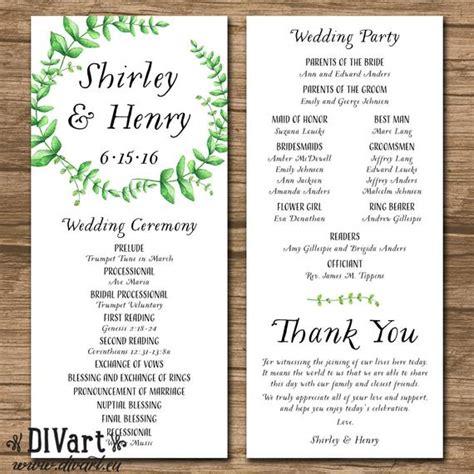 wedding program ceremony program order of events wedding