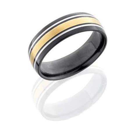 Wedding Ring Black Zirconium by Black Zirconium Wedding Ring With Yellow Gold And Sterling