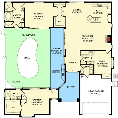 florida house plans with courtyard pool home plan with courtyard and guest cabana 82034ka 1st