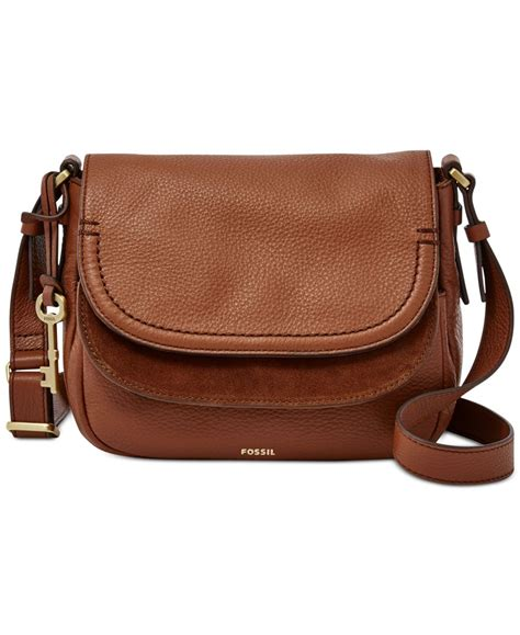 Fussil Flap fossil peyton leather flap bag in brown lyst